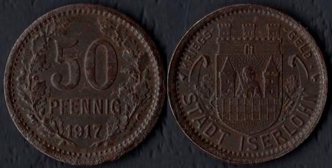 Изерлон 50 пфеннигов 1917