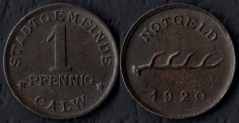Кальв 1 пфенниг 1920