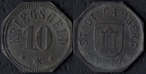 Камберг 10 пфеннигов 1917
