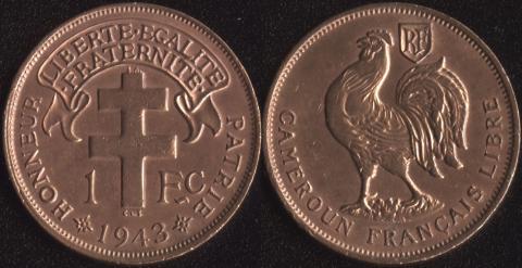 Камерун 1 франк 1943
