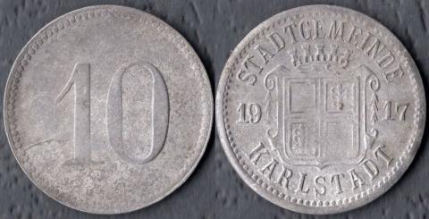 Карлштадт 10 пфеннигов 1917