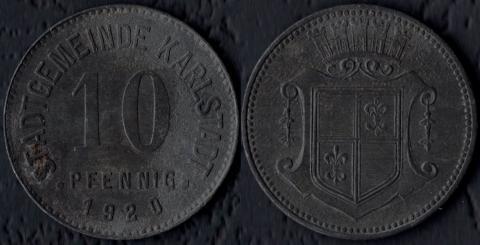 Карлштадт 10 пфеннигов 1920