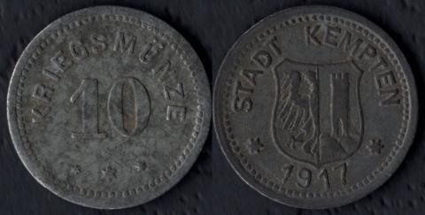 Кемптен 10 пфеннигов 1917