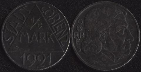 Кобленц 1/2 марки 1921