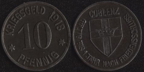 Кобленц 10 пфеннигов 1918