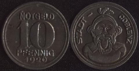 Кобленц 10 пфеннигов 1920