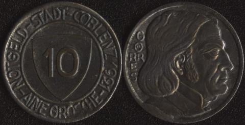 Кобленц 10 пфеннигов 1921