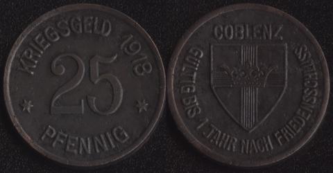 Кобленц 25 пфеннигов 1918