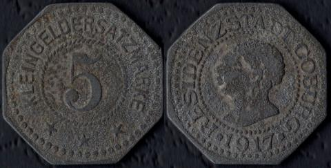 Кобург 5 пфеннигов 1917