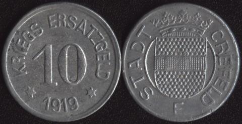 Крефельд 10 пфеннигов 1919 (цинк)