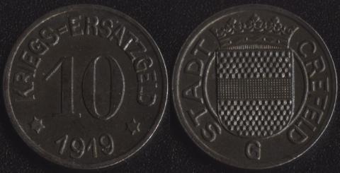 Крефельд 10 пфеннигов 1919 (железо)