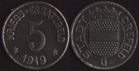 Крефельд 5 пфеннигов 1919