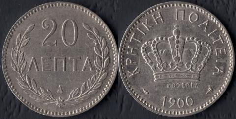 Крит 20 лепта 1900
