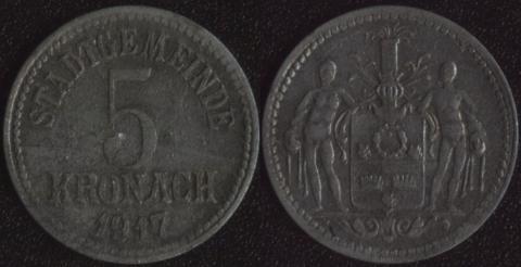 Кронах 5 пфеннигов 1917