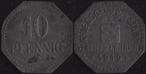 Лангеншвальбах 10 пфеннигов 1919