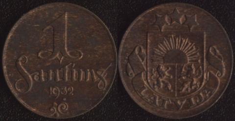 Латвия 1 сантим 1932
