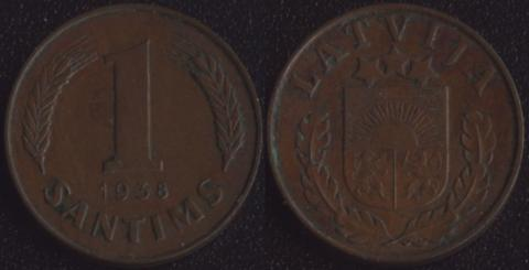 Латвия 1 сантим 1938