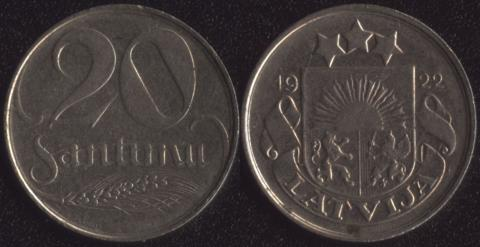 Латвия 20 сантим 1922