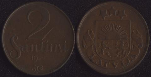 Латвия 2 сантима 1922