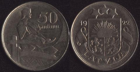 Латвия 50 сантим 1922