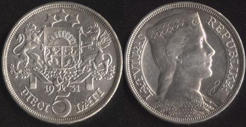 Латвия 5 лат 1931