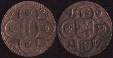 Лаутербах 10 пфеннигов 1917