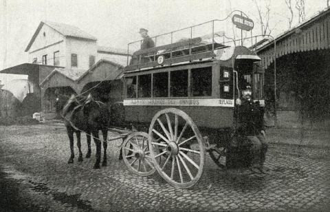 Первый двухэтажный автобус в Тулузе, фотография 1863 года