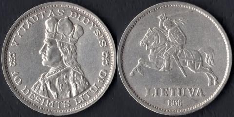 Литва 10 лит 1936