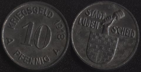 Люденшайд 10 пфеннигов 1918