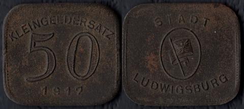 Людвигсбург 50 пфеннигов 1917