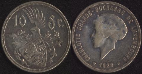 Люксембург 10 франков 1929