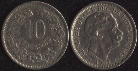 Люксембург 10 сантим 1901