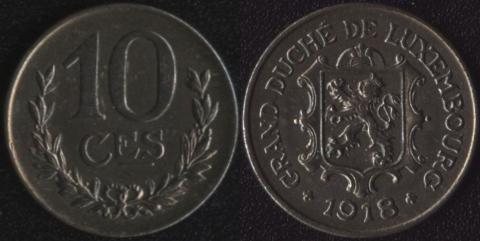Люксембург 10 сантим 1918