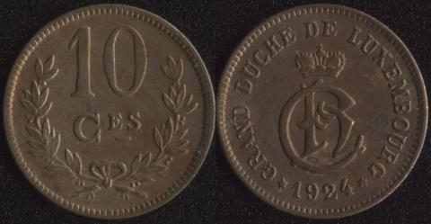 Люксембург 10 сантим 1924