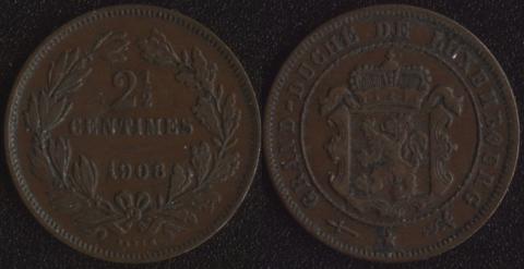 Люксембург 2,5 сантим 1908