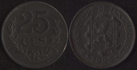 Люксембург 25 сантим 1922