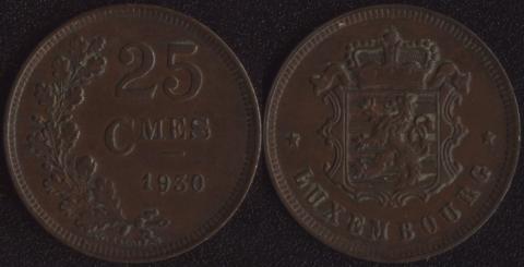 Люксембург 25 сантим 1930