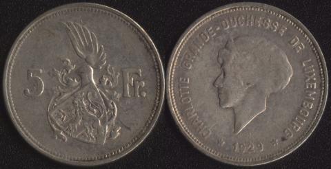 Люксембург 5 франков 1929