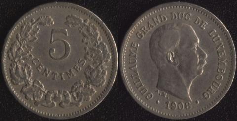 Люксембург 5 сантим 1908