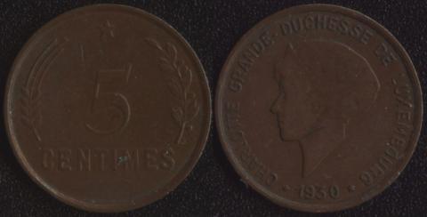 Люксембург 5 сантим 1930