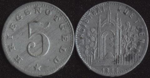 Лютцен 5 пфеннигов 1919