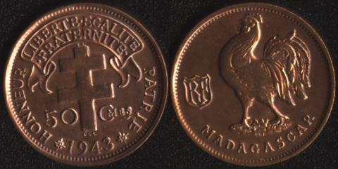 Мадагаскар 50 сантим 1943