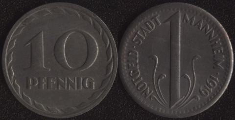 Маннхейм 10 пфеннигов 1919