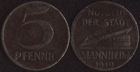 Маннхейм 5 пфеннигов 1919