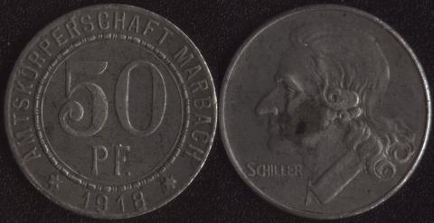 Марбах 50 пфеннигов 1918
