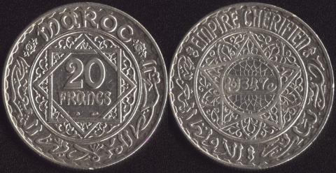 Марокко 20 франков 1928