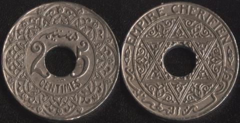 Марокко 25 сантим 1924