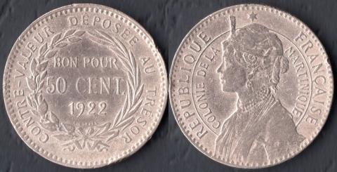Мартиника 50 сантим 1922