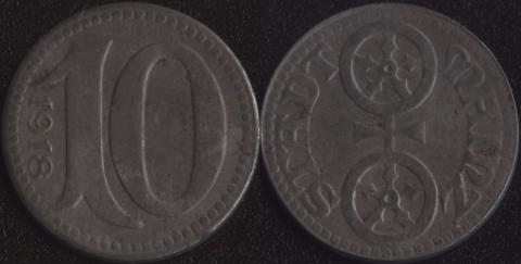 Майнц 10 пфеннигов 1918