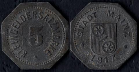 Майнц 5 пфеннигов 1917